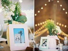 Love the idea of taking real pictures to make table numbers #wedding #tablenumbers