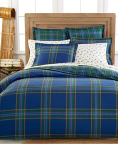 Martha Stewart Ivy League flannel bedding collection — tartan patterns give your home the perfect seasonal feel, even when you go with rich blue hues!
