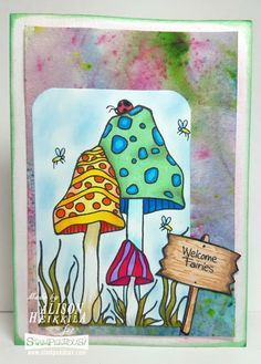 #Cre8time for a fairy welcome card. #stampendous #pinkyourlife #fairygarden #imaginecrafts
