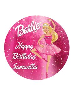 Edible Cake Cupcake Topper Decoration Image Girls Barbie Pink Doll Pretty Personalised Rice Wafer by CustomCakeTopperAus on Etsy https://www.etsy.com/listing/252697900/edible-cake-cupcake-topper-decoration