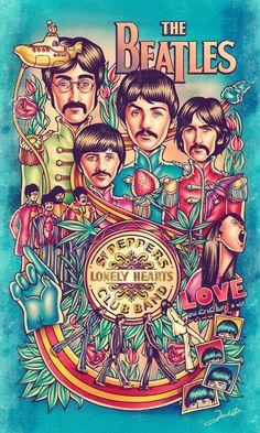 Ilustração da maior banda de rock de todos os tempos (na minha opinião): os Beatles. Na ilustração podemos encontrar referências aos álbuns Sgt Pepper's Lonely Hearts Club Band, Yellow Submar…