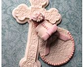 CHRISTENING BABY Cake Topper Fondant Cake Topper BABY  pearl sudded dress communion dress cross baptism