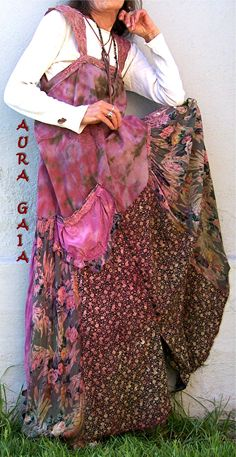AuraGaia ~ Hopeless Romantic Poorgirl Layering Overdress with a Vintage Mood. upcycled overdyed