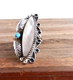 Vintage Sterling Silver Mother of Pearl Native American Ring by MaejeanVINTAGE, $50.00    #sterling #ring #vintage