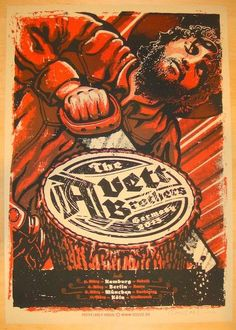 """Avett Brothers - silkscreen concert poster (click image for more detail) Artist: Lars Krause Venue: Multi-venue Location: Multi-city Concert Date: 3/5-11/2013 Size: 17"""" x 24 1/4"""" Edition: 210, signed"""