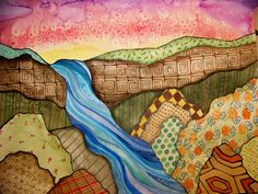 3rd grade landscape with foreground, middle ground, and background.
