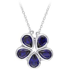 Created Blue Sapphire 2-in-1 Necklace in Sterling Silver (215 AUD) ❤ liked on Polyvore featuring jewelry, necklaces, blue, bezel set necklace, blue sapphire necklace, sterling silver jewellery, blue sapphire jewelry and birthday flower necklace