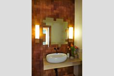So many things to love! Jamie Beckwith Parquetry Tiles (Enigma/Stretcher) on wall.