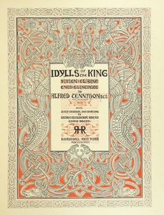 """Image taken from: Title: """"Idylls of the King. Vivien. Elaine. Enid. Guinevere ... With ... decorations by G. W. Rhead and L. Rhead"""", """"Idylls of the King"""" Author: Tennyson, Alfred Tennyson - Baron Contributor: RHEAD, George Woolliscroft. Contributor: Rhead, Louis Shelfmark: """"British Library HMNTS 11647.g.41."""" Page: 7 Place of Publishing: New York Date of Publishing: 1898 Publisher: R. H. Russell Issuance: monographic Identifier: 003599001 Explore: Find this item..."""