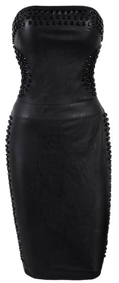 ☺ House Of CB Strapless Leather Bodycon Dress With Studded Detail - 'April' Studded Strapless Leatherette Dress-SALE £99.00