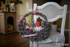 """Купить Рождественский венок с гномом """"Merry Christmas"""" - разноцветный, рождественский венок, новогодний венок"""