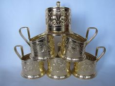 Vintage Full Set 6 pcs Russian Tea Cup Glass-Holder Podstakannik