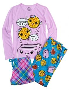 Not exactly these pjs but ya I want awesome pjs where u can take the slippers off and then put them back on Cute Pjs, Cute Pajamas, Justice Pajamas, Justice Clothing, Justice Outfits, Tween Clothing, Girls Sleepwear, Girls Pajamas, Tween Fashion