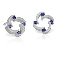 Blue Nile Bree Richey Sapphire Stud Earrings (390 CAD) ❤ liked on Polyvore featuring jewelry, earrings, blue nile, sapphire jewelry, sapphire stud earrings, sapphire jewellery and sapphire earrings