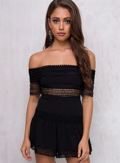 8b3afc3a988 Women s Deep Water Off The Shoulder Romper Black 6 by  Princess Polly  Princess  Polly