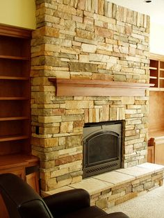 Stone Veneer Fireplace Face (Baker Masonry LLC 503 539 6792) Cultured Stone(County Ledgestone Caramel with Taupe Hearthstones)