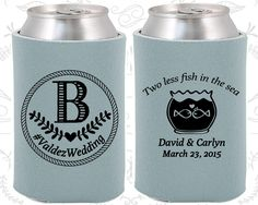 Two Less Fish In The Sea Custom Gifts Monogram Wedding Gift Monogrammed Gifts Monogram Favors Can Cooler 537
