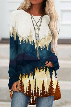 Landscape Long Sleeve Tops, Long Sleeve Shirts, Short Sleeves, Basic Tops, Casual T Shirts, Online Shopping Clothes, White Tops, Types Of Sleeves, Printed Cotton