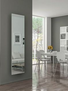Real mirror radiator: a special mirror radiator. It can create a sense of airy space and exciting environment. This steel radiator with a full mirror front panel is suitable for different heating types. Home Radiators, Flat Panel Radiators, Bathroom Radiators, Vertical Radiators, Wall Heater Cover, Kitchen Radiator, Modern Radiator Cover, Mirror Radiator, Colores Ral
