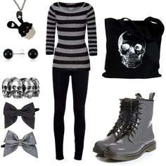 """Kashual"" by theeverydaygoth on Polyvore.  Like the black-grey balance. Think I'd skip the necklace and the hair bows."