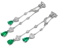 Genuine emerald earrings