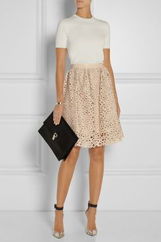 Karl Lagerfeld | Resi embroidered faux leather skirt | with GIANVITO ROSSI Leather, PVC and suede pumps NET-A-PORTER.COM