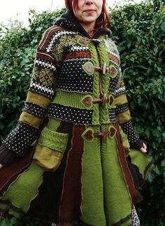 Handmade Pixie Elf Coat Upcycled Norwegian Knitted Wool Sweaters Brown Green | eBay