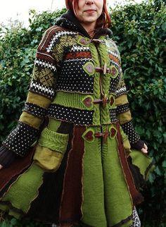 Handmade Pixie Elf Coat Upcycled Norwegian Knitted Wool Sweaters Brown Green | eBay