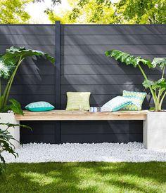 terrasse graviers blancs jardin Castorama