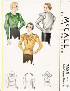 1930s 30s McCall 7685 pattern misses women's  blouse raglan sleeves art deco cut Bust 38 repro vintage sewing