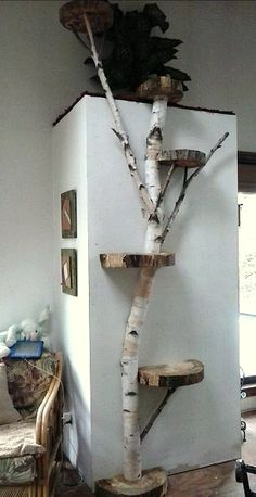 Disegni disfunzionali: Cool Cat Houses per Cool Cats – DIY Cat Houses 403142604 … Animal Room, Animal House, Tree Branch Crafts, Birch Tree Decor, Wood Tree, Diy Projects For Bedroom, Diy Bedroom, Cat House Diy, Diy Cat Tree