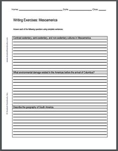 world war i essay questions sheet to print for grades  mesoamerican civilizations writing exercises printable worksheet featuring three short essay questions