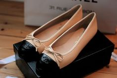 Chanel Bow Detail Ballet Flats Apricot/Black. $135.00. - I want a pair of these so bad.