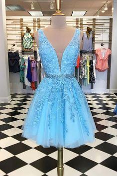 bc19a1b3bd7b Blue V-Neck Homecoming Dress,Short Prom Dresses,Cocktail Dress,Homecoming  Cheap. Zibbet