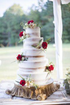 Fall wedding cake idea - five-tier, semi-naked wedding cake with red flowers + greenery {Blair Bush Weddings}