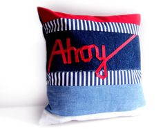 Ahoy word pillow nautical cushion with ribbon lettering by memake, £40.00