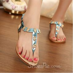 Heels, Flat Sandals , $41.99, Cute Blue Flat Heels Toe-knob Skull Decoration Women Sandals