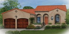 Home Plan HOMEPW76253 - 1684 Square Foot, 3 Bedroom 2 Bathroom + Spanish Home with 2 Garage Bays | Homeplans.com