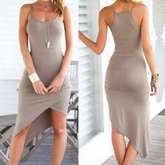 Grey Plain Condole Belt Irregular Square Neck Sleeveless Slim Sexy High-Low…
