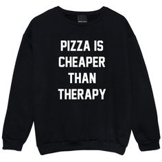 Pizza Is Cheaper Than Therapy Sweater Jumper Funny Fun Tumblr Hipster... ($17) ❤ liked on Polyvore featuring tops, sweaters, shirts, black, sweatshirts, women's clothing, jumper shirt, star print shirt, star shirt and grunge shirts