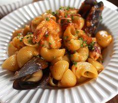 Pipe rigate com bem temperado molho apimentado, mexilhões, camarã e polvo - Fornecido por Gastrolândia
