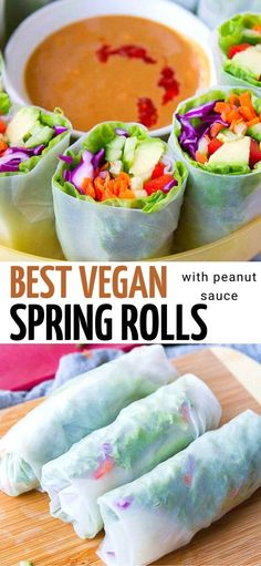 Vegan spring rolls with peanut sauce are my new obsession for light meals or appetizers! When you just don't feel like another salad, this is a fantastic way to fill up on veggies. 117 calories and 4 Weight Watchers Freestyle SP | Plant Based | Vegetarian | Vegetable | Vietnamese | Recipe | Veggie | Easy | Healthy #plantbased #veganappetizers #springrolls #peanutsauce #smartpoints #wwrecipes Superfood Recipes, Vegetarian Recipes, Healthy Recipes, Easy Weekday Meals, Easy Meals, Spring Roll Peanut Sauce, Vegan Spring Rolls, Vegan Appetizers, Savoury Dishes