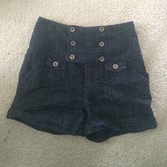 Dark Jean high waist shorts Perfect condition!! High waisted dark denim jean shorts!! Arden B Jeans