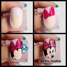 How to draw Minnie Mouse on your nails Mickey Mouse Nail Art, Minnie Mouse Nails, Mickey Mouse Nails, Cartoon Nail Designs, Nail Art Designs, Nail Art Hacks, Gel Nail Art, Cruise Nails, Animal Nail Art