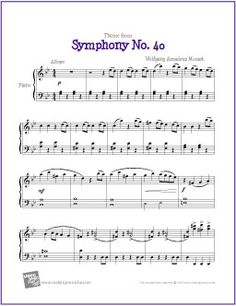 Theme from Symphony No. 40 (Mozart) | Free Sheet Music for Piano - http://makingmusicfun.net/htm/f_printit_free_printable_sheet_music/mozart-symphony-fourty-piano.htm