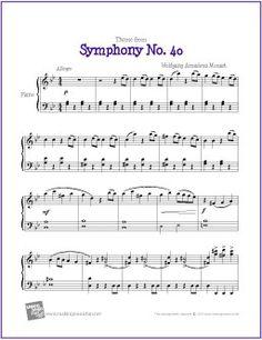 Theme from Symphony No. 40 (Mozart)   Free Sheet Music for Piano - http://makingmusicfun.net/htm/f_printit_free_printable_sheet_music/mozart-symphony-fourty-piano.htm