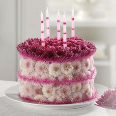 Dark and light pink fresh flowers birthday cake.PNG