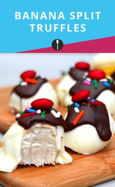 Turn a banana split into a delectable truffles perfect for any special occasion with this recipe. Dessert Ideas, Dessert Recipes, Diy Party, Party Ideas, Banana Cheesecake, Truffle Recipe, Banana Split, How Sweet Eats, Ideas