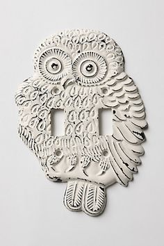 owl switchplate.  I just want to say that I liked owls before they were cool.  I wrote a book about owls when I was 6 years old.  I liked owls when all my classmates were still fawning after dinosaurs.