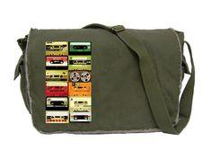 Cassettes - Olive Green - Large Raw Edged Messenger Bag / Laptop Bag. $35.00, via Etsy.